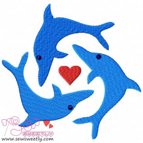 Jumping Dolphins Embroidery Design Pattern- Category- Sea Life Designs- 1