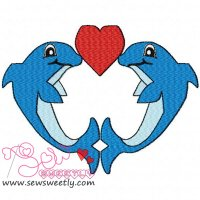Kissing Dolphins Embroidery Design