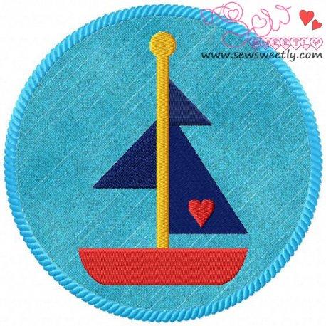 Sail Boat Badge Machine Applique Design For Kids