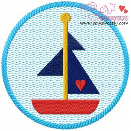 Sail Boat Badge Embroidery Design Pattern- Category- Sea Life Designs- 1
