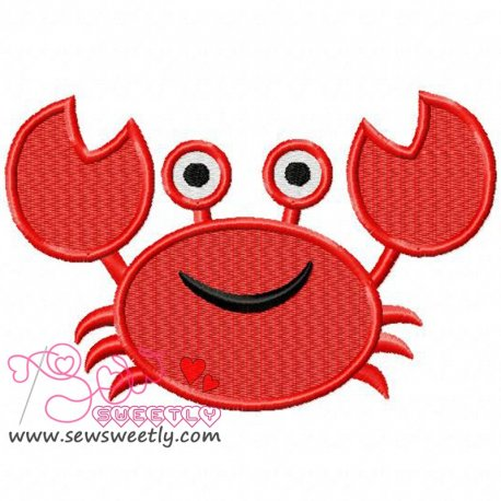 Cute Smiling Crab Machine Embroidery Design For Kids