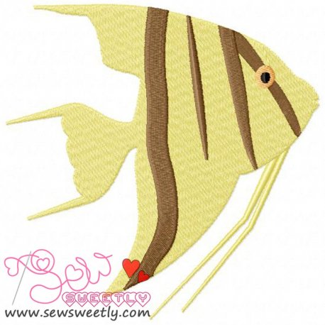 Cute Striped Fish Machine Embroidery Design For Kids