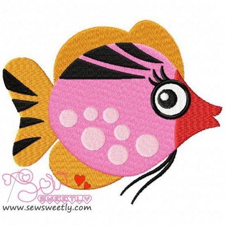 Cute Sweet Fish-1 Machine Embroidery Design For Kids