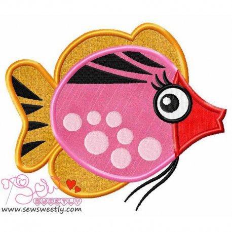 Cute Sweet Fish-1 Machine Applique Design For Kids