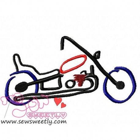 Artistic Motorbike Machine Embroidery Design For Kids