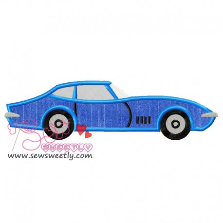 Blue Corvette Machine Applique Design For Kids