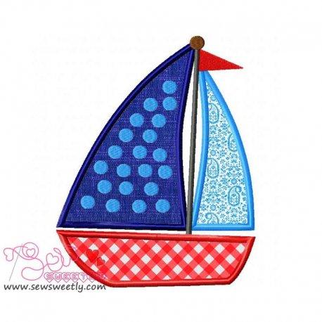 Blue Sailboat Machine Applique Design For Kids