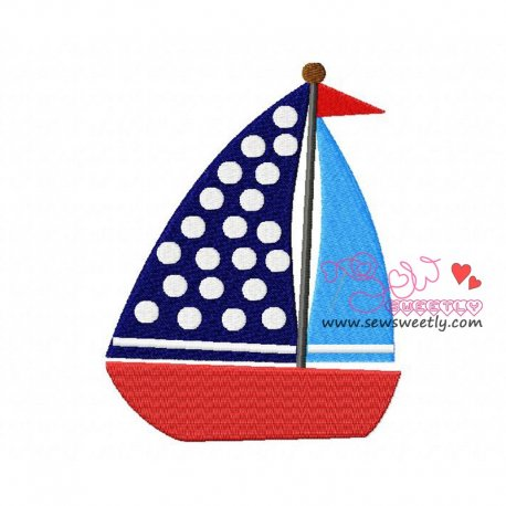 Blue Sailboat Machine Embroidery Design For Kids