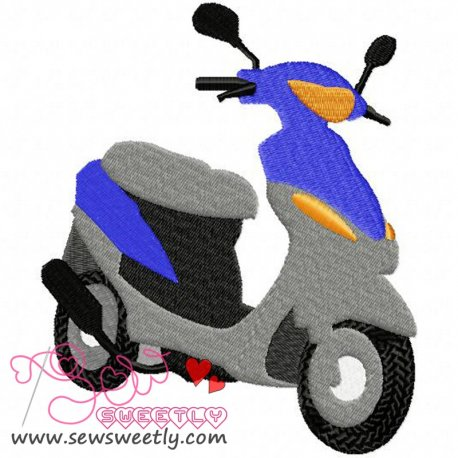 Blue Scooter Machine Embroidery Design For Kids