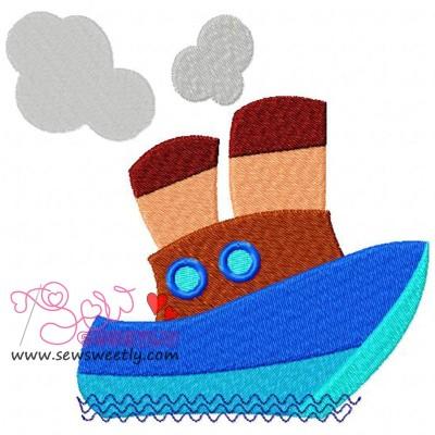 Blue Ship Embroidery Design