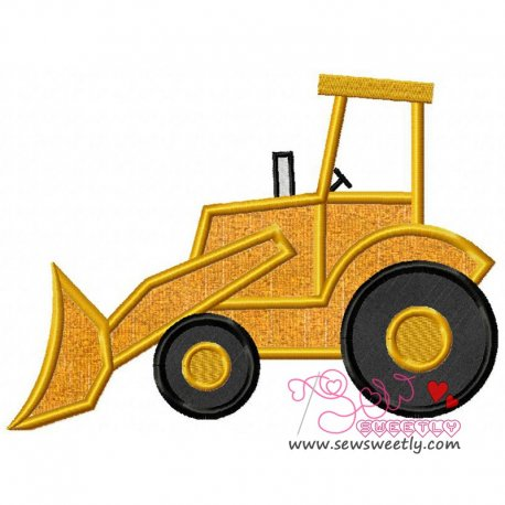 Bulldozer Machine Applique Design For Kids