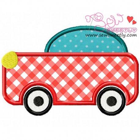 Cartoon Car Machine Applique Design For Kids