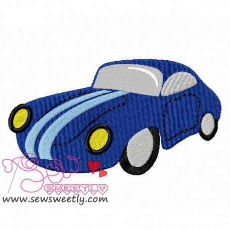 Classic Car Machine Embroidery Design For Kids