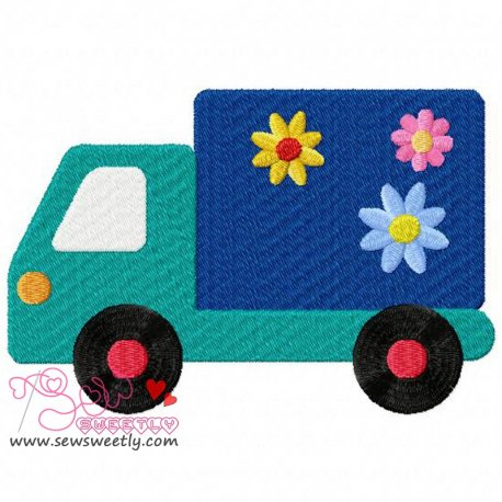 Delivery Truck Machine Embroidery Design For Kids