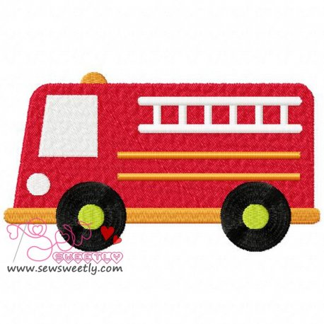 Fire Truck Machine Embroidery Design For Kids