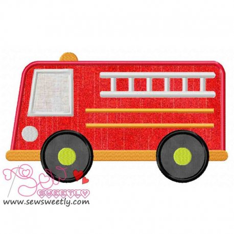 Fire Truck Machine Applique Design For Kids