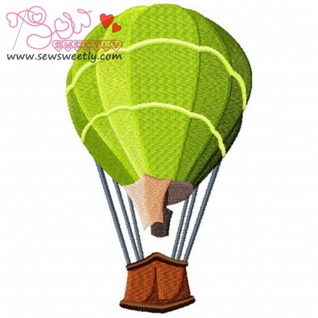 Green Hot Air Balloon Machine Embroidery Design For Kids