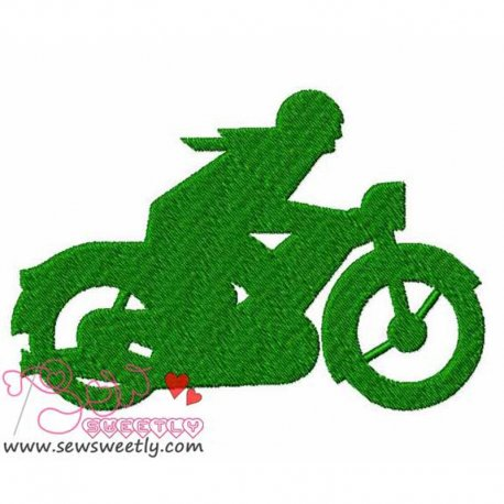 Green Motorbike Machine Embroidery Design For Kids