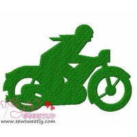 Green Motorbike Embroidery Design