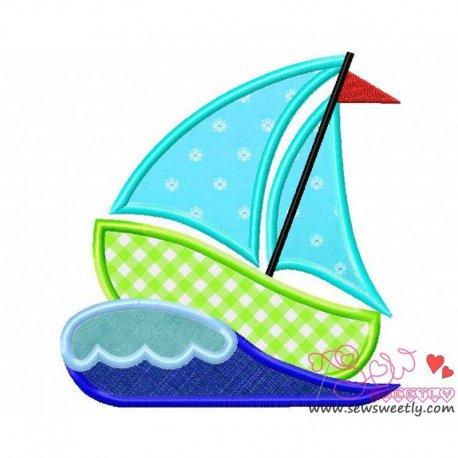 Green Sailboat Machine Applique Design For Kids