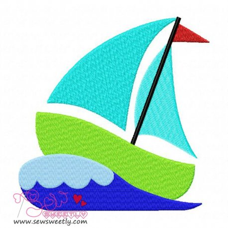 Green Sailboat Machine Embroidery Design For Kids