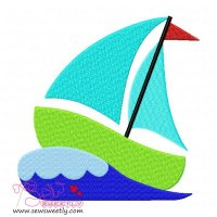 Green Sailboat Embroidery Design