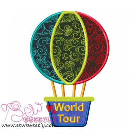 Hot Air Balloon Machine Applique Design For Kids