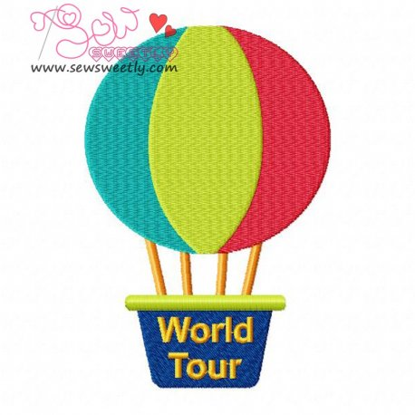 Hot Air Balloon Embroidery Design Pattern- Category- Transportation Designs- 1