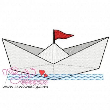 Paper Ship Machine Embroidery Design For Kids