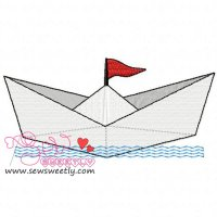 Paper Ship Embroidery Design