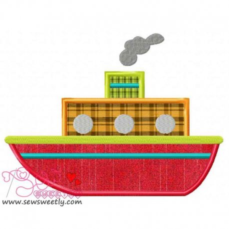 Red Ship Machine Applique Design For Kids