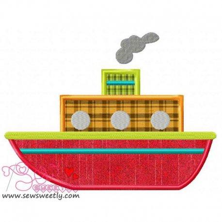 Red Ship Applique Design Pattern- Category- Transportation Designs- 1