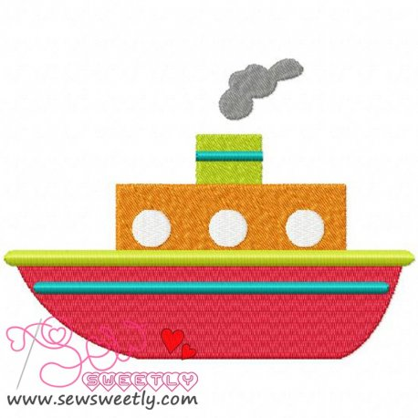 Red Ship Machine Embroidery Design For Kids