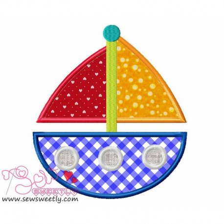 Sail Boat-3 Machine Applique Design For Kids
