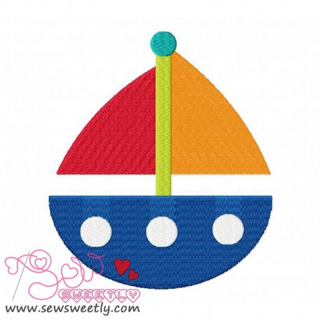 Sail Boat-3 Machine Embroidery Design For Kids
