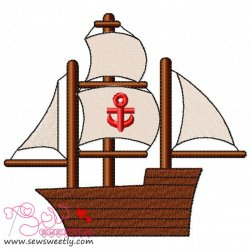 Sailing Ship Embroidery Design
