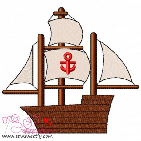 Sailing Ship Machine Embroidery Design For Kids