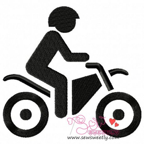 Silhouette Biker Machine Embroidery Design For Kids