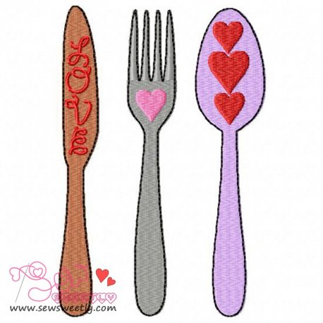Love Cutlery-1 Machine Embroidery Design For Valentine's Day And Kitchen Towels
