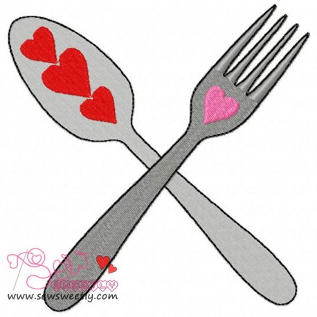Love Cutlery-2 Machine Embroidery Design For Valentine's Day And Kitchen Towels