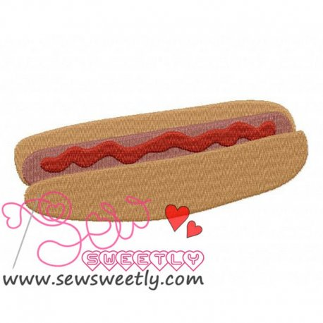 Hot Dog With Ketchup Embroidery Design Pattern- Category- Kitchen and Food Designs- 1
