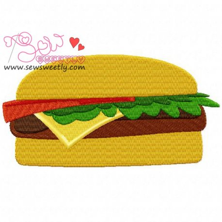 Cheese Burger Machine Embroidery Design For Kitchen And Food Projects