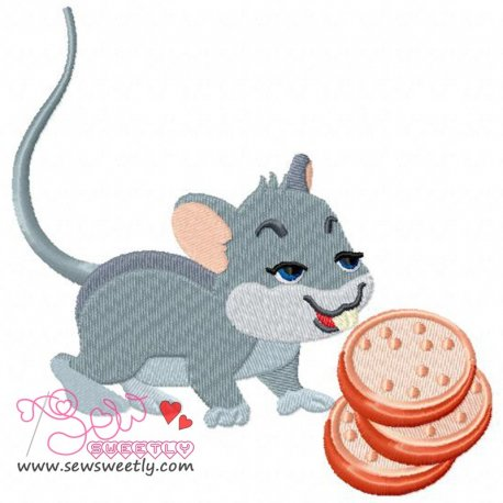 Mouse With Cookies Embroidery Design Pattern- Category- Kitchen and Food Designs- 1