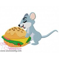 Mouse With Burger Embroidery Design