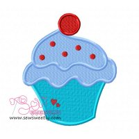 Ice Cream Cup With Cherry Embroidery Design