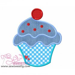 Ice Cream Cup With Cherry Applique Design