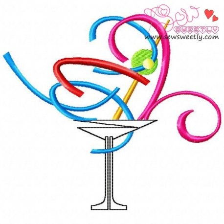 Artistic Drink Machine Embroidery Design For Summer, Kitchen And Food Projects