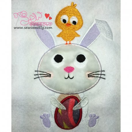 Cute Bunny And Chick Applique Design