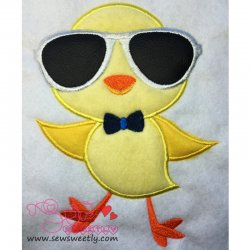 Cute Chick Glasses Machine Applique Design For Easter And Kids