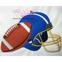 Football With Helmet Embroidery Design